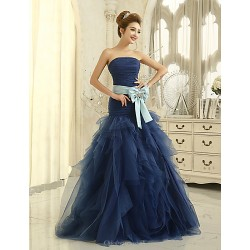 Formal Evening Dress Pool Trumpet Mermaid Strapless Floor Length Tulle