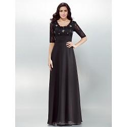Formal Evening Dress - Black Plus Sizes / Petite Sheath/Column Square Floor-length Chiffon