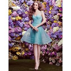 Bridesmaid Dress Knee Length Organza A Line V Neck Dress