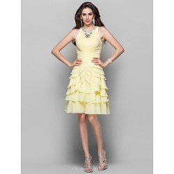 Cocktail Party Dress Daffodil Plus Sizes Petite A Line Princess High Neck Knee Length Chiffon