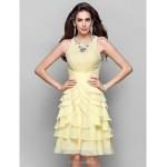 TS Couture Cocktail Party / Dress - Daffodil Plus Sizes / Petite A-line / Princess High Neck Knee-length Chiffon Special Occasion Dresses