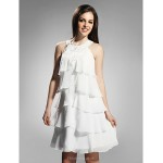 TS Couture Cocktail Party / Graduation / Holiday Dress - White Plus Sizes / Petite Sheath/Column Jewel Knee-length Chiffon Special Occasion Dresses