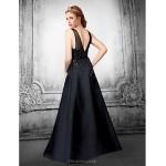 Formal Evening Dress - Ivory / Black Plus Sizes / Petite A-line V-neck Floor-length Satin / Tulle Special Occasion Dresses