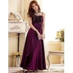 Formal Evening Dress - Burgundy / Grape / Dark Navy Plus Sizes A-line / Princess Spaghetti Straps Floor-length Satin Special Occasion Dresses