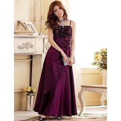 Formal Evening Dress Burgundy Grape Dark Navy Plus Sizes A Line Princess Spaghetti Straps Floor Length Satin