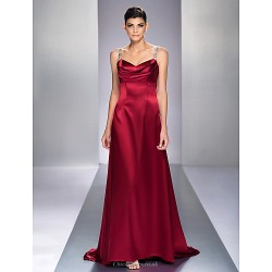 Formal Evening / Military Ball Dress - Burgundy Plus Sizes / Petite A-line Straps Sweep/Brush Train Stretch Satin