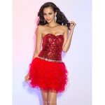 Cocktail Party / Prom Dress - Ruby Plus Sizes / Petite A-line / Princess Sweetheart Short/Mini Tulle / Sequined Special Occasion Dresses