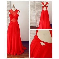 Formal Evening Dress Ruby A Line V Neck Floor Length Chiffon