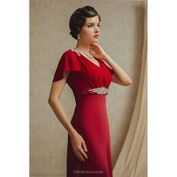 Formal Evening Dress Burgundy Petite A Line Princess V Neck Floor Length