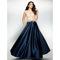 Formal Evening Dress - Multi-color A-line Scoop Floor-length Satin / Tulle
