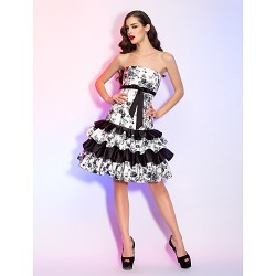 Cocktail Party / Homecoming / Holiday Dress - Print Plus Sizes / Petite A-line / Princess Strapless Knee-length Satin