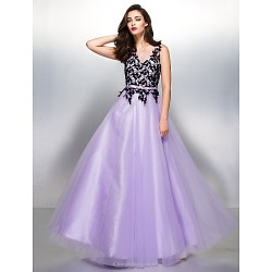Formal Evening Dress Lavender A Line V Neck Floor Length Lace Tulle
