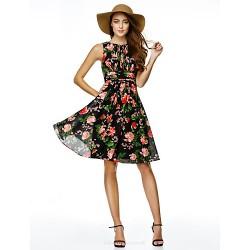 Cocktail Party Dress - Print A-line Jewel Knee-length Chiffon