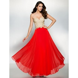Formal Evening Dress Multi Color A Line Sweetheart Ankle Length Chiffon Lace
