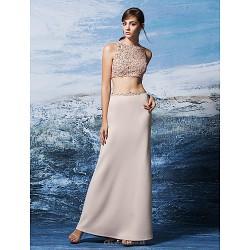 Formal Evening Dress Blushing Pink Plus Sizes Petite Sheath Column Jewel Floor Length Sequined Jersey