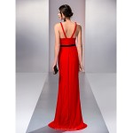 Formal Evening / Prom / Military Ball Dress - Ruby Plus Sizes / Petite A-line V-neck Sweep/Brush Train Jersey Special Occasion Dresses