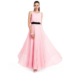 Formal Evening / Prom / Military Ball / Wedding Party Dress - Candy Pink Plus Sizes / Petite A-line / Princess Jewel Floor-length Chiffon