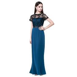Formal Evening Dress - Ink Blue Plus Sizes / Petite Sheath/Column Jewel Floor-length Cotton / Lace