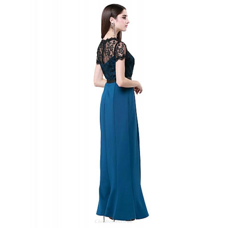 b8bbf90444f ... Formal Evening Dress - Ink Blue Plus Sizes   Petite Sheath Column Jewel  Floor- ...