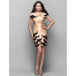 Cocktail Party Dress Gold Plus Sizes Petite Sheath Column Off The Shoulder Spaghetti Straps Short Mini Taffeta