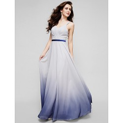 Formal Evening Dress Multi Color A Line Straps Floor Length Chiffon