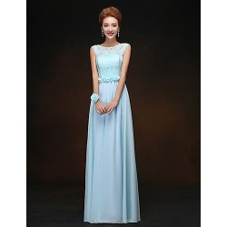 Floor-length Chiffon Bridesmaid Dress - Sky Blue Sheath/Column Scoop