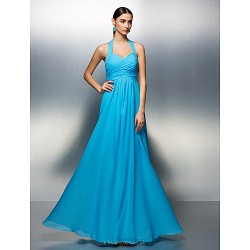 Prom / Formal Evening Dress - Pool Plus Sizes / Petite A-line Halter Floor-length Chiffon