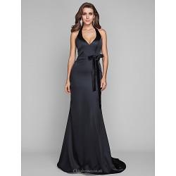 Formal Evening Military Ball Dress Black Plus Sizes Petite Sheath Column Halter Sweep Brush Train Stretch Satin