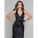 Formal Evening / Military Ball Dress - Black Plus Sizes / Petite Sheath/Column Halter Sweep/Brush Train Stretch Satin Special Occasion Dresses