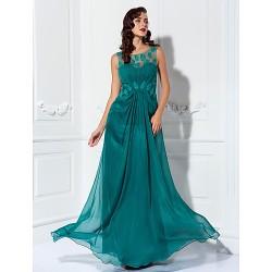 Formal Evening Prom Military Ball Dress Jade Plus Sizes Petite Sheath Column Scoop Floor Length Chiffon Tulle