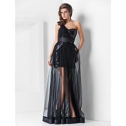 Formal Evening Dress Black Plus Sizes Petite Sheath Column One Shoulder Sweetheart Asymmetrical Floor Length Sequined Tulle