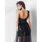 Formal Evening Dress - Black Plus Sizes / Petite Sheath/Column One Shoulder / Sweetheart Asymmetrical / Floor-length Sequined / Tulle Special Occasion Dresses