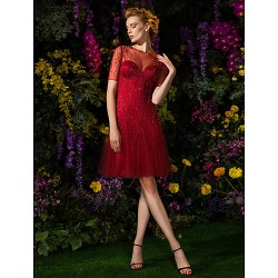 Cocktail Party / Prom Dress - Champagne / Burgundy Plus Sizes A-line Jewel Knee-length Tulle