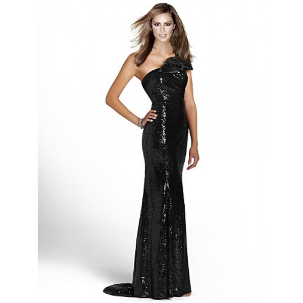 Formal Evening Dress - Black Sheath/Column One Shoulder Floor-length Sequined Special Occasion Dresses