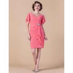 Sheath/Column V-neck Knee-length Chiffon Mother of the Bride Dress