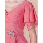 Sheath/Column V-neck Knee-length Chiffon Mother of the Bride Dress Mother Of The Bride Dresses