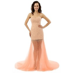 Formal Evening Dress Champagne A Line Strapless Sweep Brush Train Chiffon