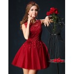 Cocktail Party Dress - Burgundy Petite Ball Gown Jewel Short/Mini Tulle / Charmeuse Special Occasion Dresses
