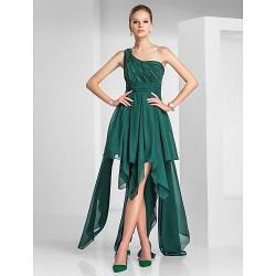 Cocktail Party Dress Dark Green Plus Sizes Petite A Line Princess One Shoulder Asymmetrical Chiffon