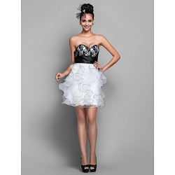 Wedding Party Cocktail Party Homecoming Dress Ivory Plus Sizes Petite A Line Sweetheart Short Mini Organza Lace