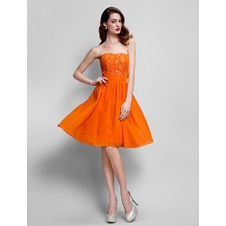 Cocktail Party Dress - Orange Plus Sizes / Petite A-line Strapless Knee-length Chiffon