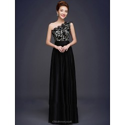Formal Evening Dress - Black Plus Sizes A-line One Shoulder Floor-length Lace / Stretch Satin