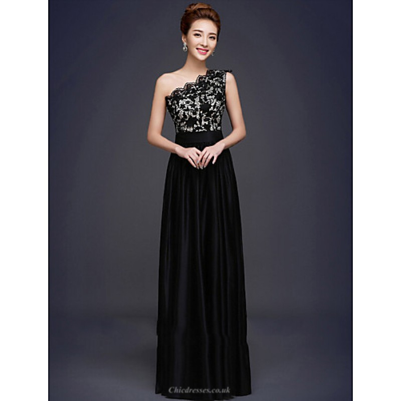 4df3385628 Formal Evening Dress - Black Plus Sizes A-line One Shoulder Floor-length  Lace