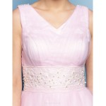 TS Couture Formal Evening Dress - Blushing Pink Plus Sizes / Petite Ball Gown V-neck Tea-length Tulle Special Occasion Dresses