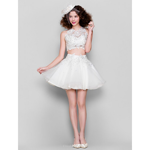 Cocktail Party Dress - White Plus Sizes / Petite Ball Gown Jewel Short/Mini Tulle / Lace Special Occasion Dresses