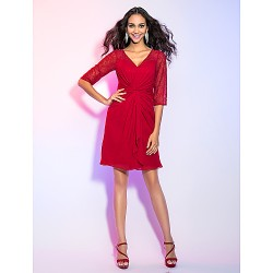 Cocktail Party Holiday Dress Ruby Plus Sizes Petite Sheath Column V Neck Knee Length Chiffon Lace