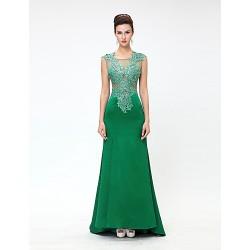 Formal Evening Dress Clover Sheath Column Jewel Chapel Train Tulle Stretch Satin Knitwear