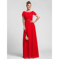 Wedding Party Formal Evening Military Ball Dress Ruby Plus Sizes Petite Sheath Column Square Floor Length Chiffon