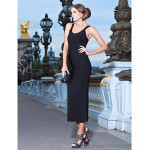 TS Couture Cocktail Party / Formal Evening Dress - Black Petite Sheath/Column Scoop Tea-length Rayon Special Occasion Dresses