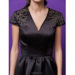 Cocktail Party Dress - Black / Watermelon Plus Sizes / Petite A-line / Princess V-neck Short/Mini Satin Special Occasion Dresses